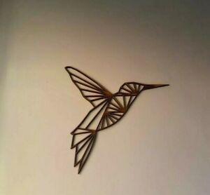 Laser cut hummingbird cutout, Geometric, 13cm 4mm Mdf, Wall Art