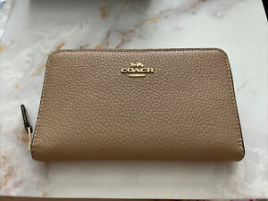 Coach Medium ID Zip Around Wallet Taupe Pebble Leather NWT