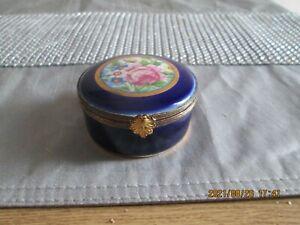Vintage P. Pastaud Limoges Hinge Lidded Porcelain Trinket Box Hand Painted
