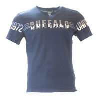 Buffalo David Bitton Men's Whale Blue Nadero Slit Neck T-Shirt BPM12268 $45 NEW