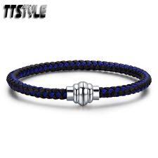 TTstyle 5mm Black/Blue 316L Stainless Steel Wire Magnet Buckle Wristband NEW