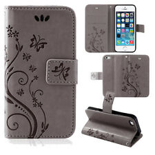 Pouch Mobile Phone Case Wallet Cases Flowers Flip Cover Book Case Grey Samsung Galaxy S7