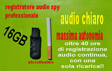 16GB REGISTRATORE AUDIO SPY PROFESSIONALE SPIA VOCALE AUTONOMIA OLTRE 40 ORE