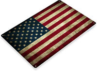 TIN SIGN American Flag Patriotic Rustic USA American Flag Metal Decor A212