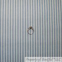 BonEful FABRIC FQ Cotton Quilt Gray White Blue VTG Small Ticking Stripe Baby Boy