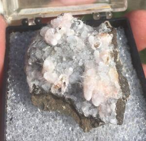 Thomsonite On Calcite w/ Mesolite Needles Spray, Oregon Mineral Specimen