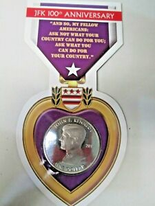 2017 British Virgin Islands John F Kennedy 100th Anniversary Purple Heart Coin