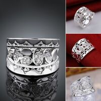 Women 925 Sterling Silver Filled Solid Natural Crystal Wedding Engagement Ring