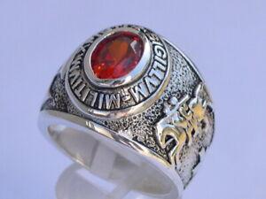 925 Sterling Silver January Garnet Birthstone Knights Templar Men Ring Size 7-14