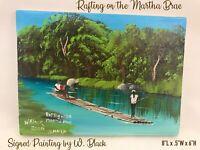 Caribbean Sunset Beach Hammock Island Palms Raft Oil Painting Signed Vtg 2000