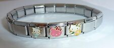 Hello Kitty Italian Charm Bracelet * 3 x Classic Charms * pink swimming fairy