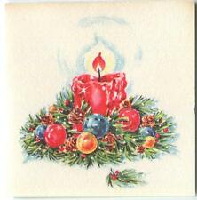VINTAGE CHRISTMAS RED CANDLE PINE NEEDLES MINIATURE TINY DOLL HOUSE ART PRINT