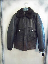 VINTAGE 60'S A2 STLYE LEATHER FLYING JACKET SIZE M TALON ZIP FAUX FUR COLLAR