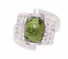 Heavy 18k white gold 5.56ct diamond green tourmaline cocktail ring size 6.5
