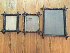 New ListingAntique Trio Adirondack Black Forest Leaf Hand Carved Corner Picture Frames!