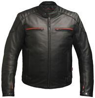 Mens LEATHER CE ARMOURED  Motorcycle Motorbike BIKER JACKET Black & Red SKINTAN