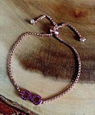 925 Sterling Silver Rose Gold Infinity Friendship Adjustable Slider Bracelet