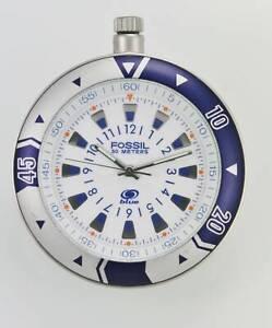 Fossil Blau Uhr Herren Taschen Edelstahl Silber Wasser Re 50M Weiß Akku Quarz