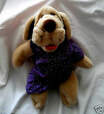 1981 WRINKLES Plush Puppy Dog Hand Puppet with Purple outfit (17 INCHES)