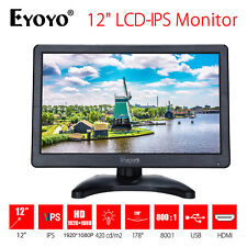"EYOYO 12"" IPS LCD DVD TV Monitor Display 1920*1080 VGA AV Audio Video For PC P6"