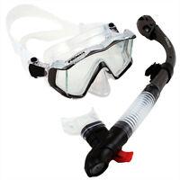 Scuba Diving Snorkeling Panoramic Purge Mask Ultra Dry Snorkel Gear Combo Set
