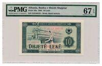ALBANIA banknote 10 Leke 1964 PMG MS67 EPQ Gem Uncirculated grade