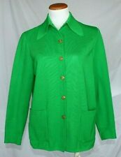New listing Vintage Womens Gold Crown LeRoy Jacket Medium Kelly Green Poly Knit 60s 70s