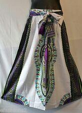Ankara African Maxi Women Elastic Waist Skirt Dashiki Print White Purple OneSize