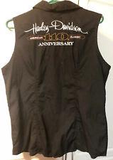 HARLEY DAVIDSON 110th Anniversary XL Black  Sleeveless ZIP Up Shirt-EUC