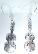 Tibetan Silver Violin Viola Earrings On Sterling Silver Hooks Organza Gift Bag