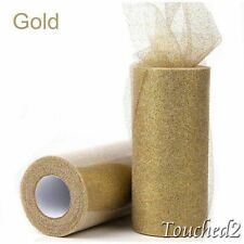 Gold Glitter Tulle Roll 6'' 25Yards Fabric Tutu Mesh Craft Wedding Decoration