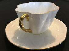 heShelley White w/Gold rim & handle cup & saucer