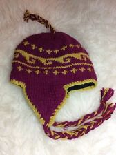 NWOT Hand Knit Wool Dark Pink and Gold Nordic Look Hat Skiing