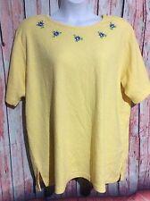 Womens Plus Koret 2X Yellow Floral Knit Top Short Sleeve Long Casual Nice Shirt