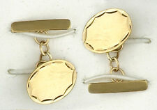 Oval Cufflinks Solid Yellow Gold Diamond Cut Edge Handmade Hallmarked
