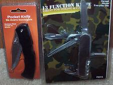 13 Function Swiss Type Knife and Pocket Knife- 2 knife set + Bonus