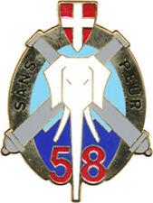 58° Régiment d'Artillerie,Insigne Tradition,Sans peur,plat,Eléphant,A.B.(9134)