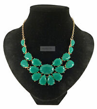 Gold Jungle Green Multi Teardrop Fashion Jewellery Necklace