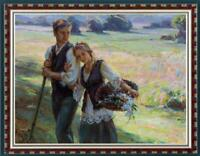 "Hand painted Original Oil Painting art Portrait farm couple on canvas 30""X40"""