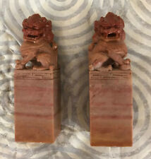 Pair Hand Carved Chinese Soapstone Foo Lion Chop Stamp Seal Blank