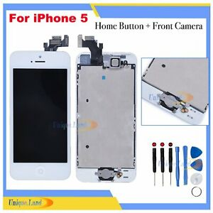For iPhone 5 5G LCD Display Screen Touch Digitizer + Home Button Camera White UK