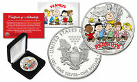 PEANUTS Charlie Brown Snoopy  1 oz PURE 2003 American U.S. Silver Eagle with Box