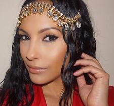 GOLD Clear Glass Jeweled Head Piece Hair Jewelry Bride Wedding Boho Bollywood
