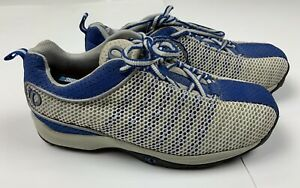 Pearl iZumi 5053 White Blue Mesh Cycling Sneakers Lace Up Clips US Women's 7.5