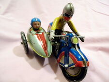 Vintage Tin Litho Toy Motorcycle W Sidecar Windup