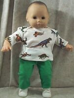 """Doll Clothes Baby Made2 Fit American Girl 15"""" in Bitty 2 pc Shirt Pants Dinasour"""
