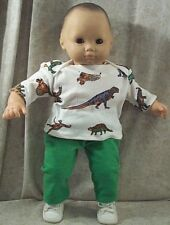 """Doll Clothes Baby Made2 Fit American Girl 15"""" in Bitty 2 pc Shirt Pants Dinosaur"""