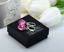 925 SILVER EARRINGS MADE WITH SWAROVSKI CRYSTALS PEAR FANCY STONE 14MM - ROSE