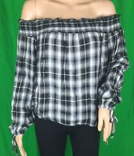 NWT Mossimo Women Off The Shoulder Black White Plaid Long Tied Sleeve Top Sz XL