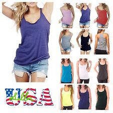 Made in USA Women Tank Top T-Shirt Loose Racerback Sleeveless Top Gym Beachwear